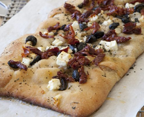 italian focaccia bread recipe by Katie Brown