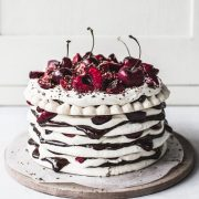 Chocolate Cherry Meringue Stack Cake