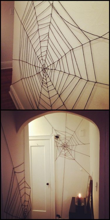 http://truebluemeandyou.tumblr.com/post/98596895630/diy-yarn-spiderweb