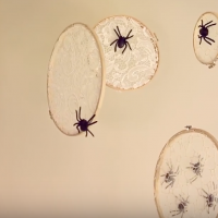 embroidery hoop spider webs for Halloween