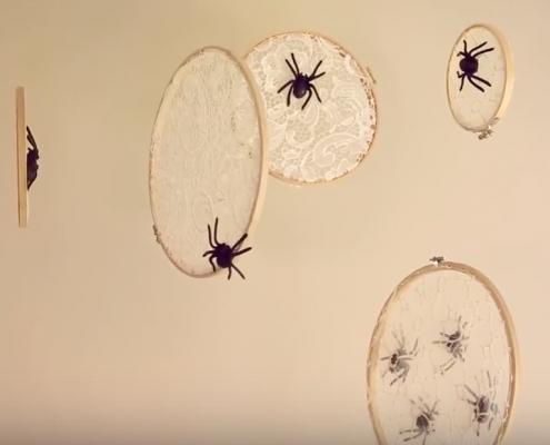 embroidery hoop spider webs for Halloween