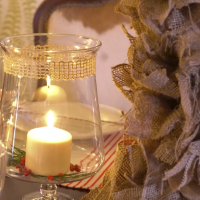 how to use burlap for a table top DIY by Katie Brown